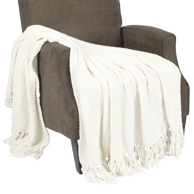 Nader Tweed Knitted Throw Blanket Color: Antique White