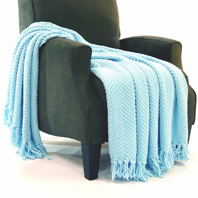 Nader Tweed Knitted Throw Blanket Color: Aquamarine