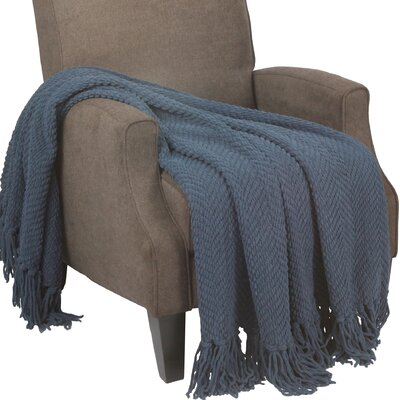 Sidon Tweed Knitted Throw Blanket Color: Blue Wing Teal
