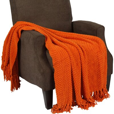 Nader Tweed Knitted Throw Blanket Color: Burnt Orange