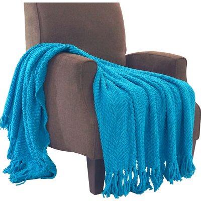 Nader Tweed Knitted Throw Blanket Color: Mediterranean Blue