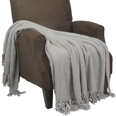 Sidon Tweed Knitted Throw Blanket Color: Silver