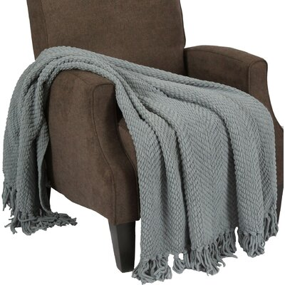 Sidon Tweed Knitted Throw Blanket Color: Silver Blue