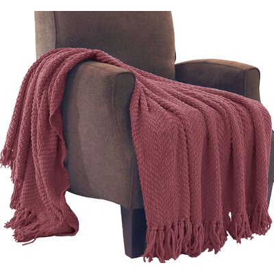 Sidon Tweed Knitted Throw Blanket Color: Crushed Berry