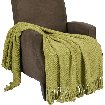 Sidon Tweed Knitted Throw Blanket Color: Dark Citron