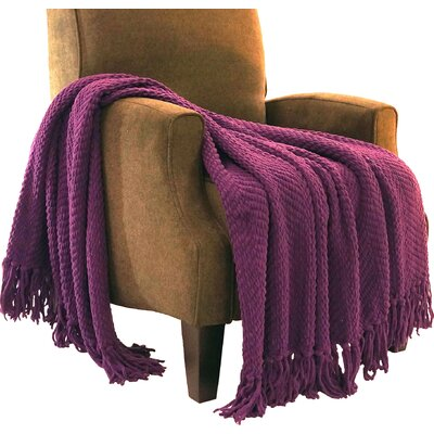 Sidon Tweed Knitted Throw Blanket Color: Imperial Purple