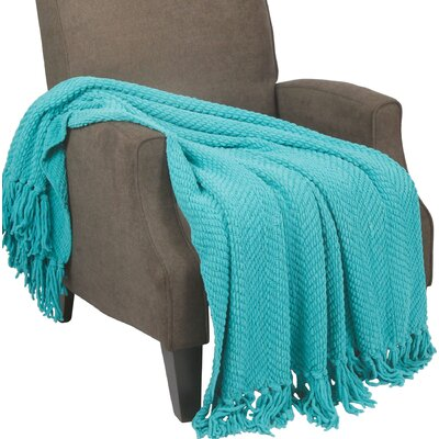 Sidon Tweed Knitted Throw Blanket Color: Baltic Blue
