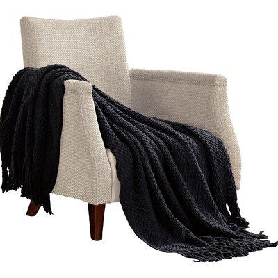 Nader Tweed Knitted Throw Blanket Color: Raven