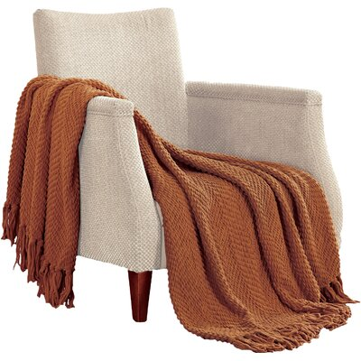 Nader Tweed Knitted Throw Blanket Color: Rust