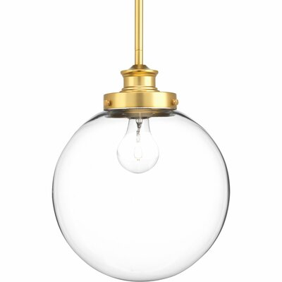 Cayden 1-Light Globe Pendant Finish: Natural Brass