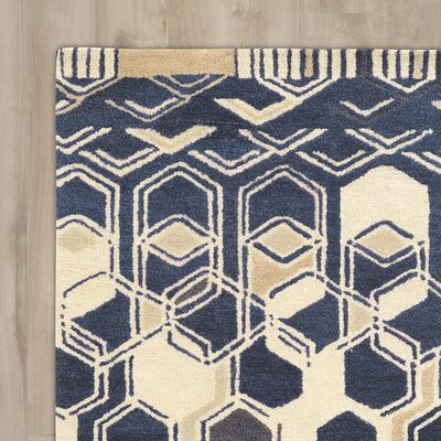 Bushwick Hand-Tufted Blue/Beige Area Rug Rug Size: Rectangle 8 x 11
