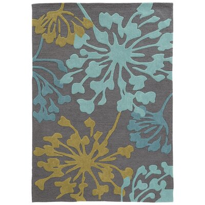 West Wick Hand-Tufted Gray/Gold Area Rug Rug Size: Rectangle 110 x 210