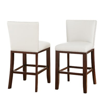 Bouwkamp 24 Bar Stool (Set of 2) Upholstery: White