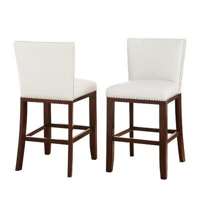 Bouwkamp 24 Bar Stool (Set of 2) Upholstery: White
