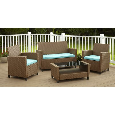 Feltonville 4 Piece Deep Seating Group with Cushion Finish: Brown/Blue