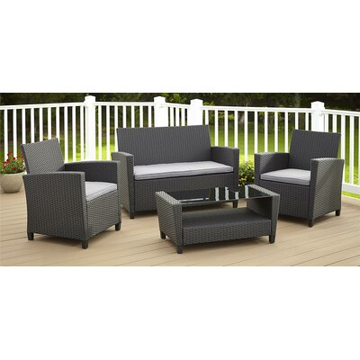 Feltonville 4 Piece Deep Seating Group with Cushion Finish: Black/Gray