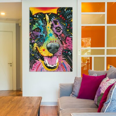 'Smiling Collie' by Dean Russo Graphic Art on Wrapped Canvas Size: 12