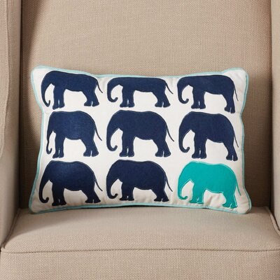 Seale Elephant Appliqued Cotton Lumbar Pillow