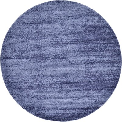 Saladino Blue Area Rug Rug Size: Round 8