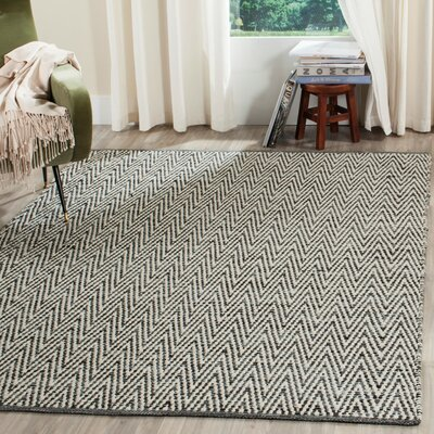 Shevchenko Place Hand-Woven Ivory / Dark Grey Area Rug Rug Size: Rectangle 9 x 12
