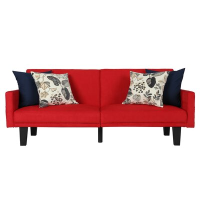 Clements Convertible Sofa Color: Red
