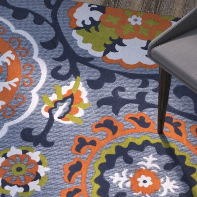 Columbus Circle Hand-Loomed Blue/Orange Area Rug