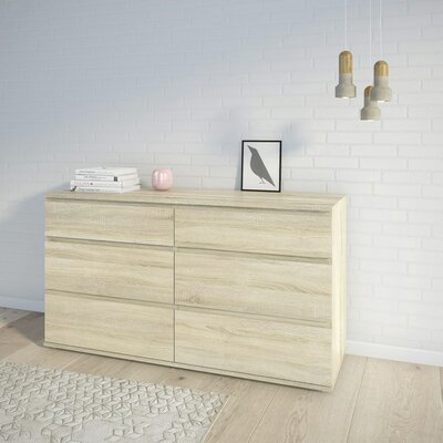 Aaron 6 Drawer Double Dresser Finish: Oak Structure