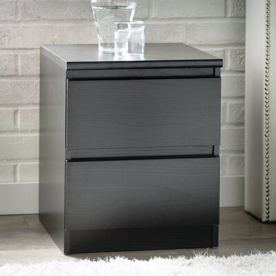 Kepner 2 Drawer Nightstand Color: Black Woodgrain
