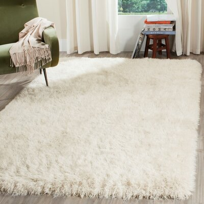 Feng Hand-Tufted White Area Rug Rug Size: Rectangle 5 x 7