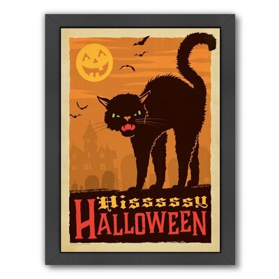 Cat_Halloween Framed Vintage Advertisement Size: 12.5