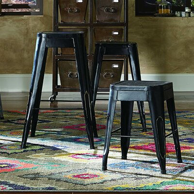 Sandefur 24 Bar Stool (Set of 4) Upholstery: Black