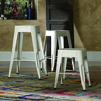 Sandefur 24 Bar Stool (Set of 4) Upholstery: White