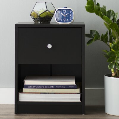 Coles 1 Drawer Nightstand Finish: Black