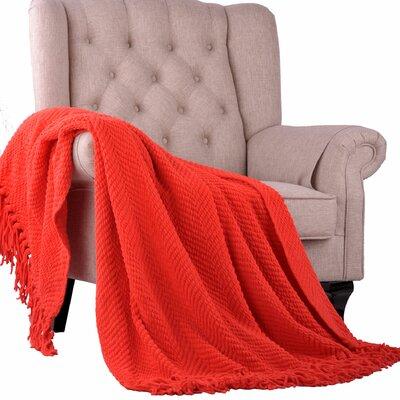 Sidon Tweed Knitted Throw Blanket Color: Fiesta
