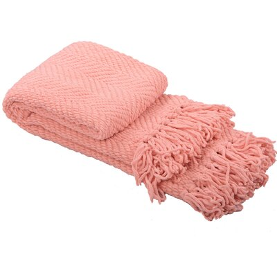 Nader Tweed Knitted Throw Blanket Color: Peach Melba
