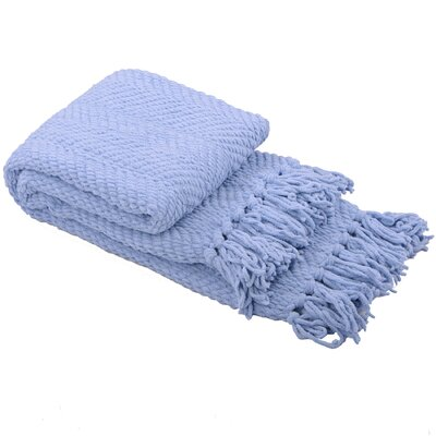 Sidon Tweed Knitted Throw Blanket Color: Forever Blue