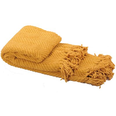 Nader Tweed Knitted Throw Blanket Color: Lemon Curry