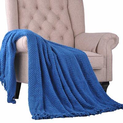Sidon Tweed Knitted Throw Blanket Color: Snorkel Blue