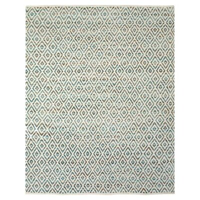Sarratt Aqua/White Area Rug Rug Size: 36 x 56