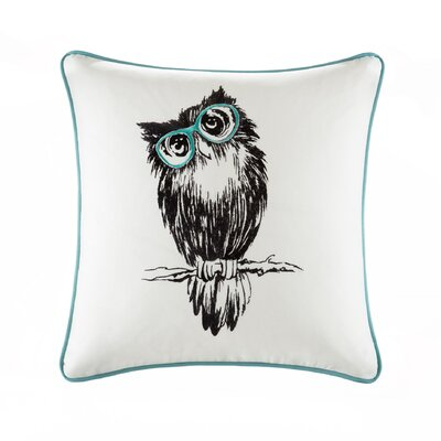 Maurin Owl Embroidered Cotton Throw Pillow