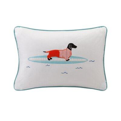 Cortes Surfboard Dog Appliqued Cotton Lumbar Pillow