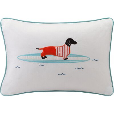 Cortes Surfboard Dog Appliqued Cotton Lumbar Pillow