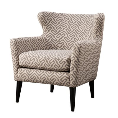 Flavin Concave Wingback Chair Upholstery: Grey/Beige
