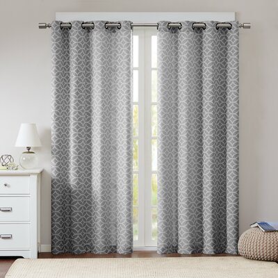 Lacerta Fret Geometric Semi-Sheer Grommet Single Curtain Panel Color: Dark Gray