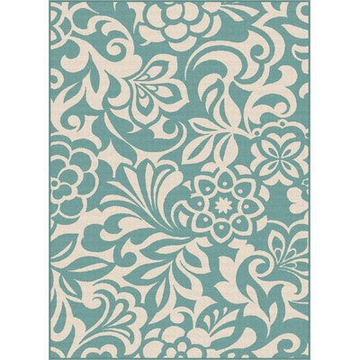 Barnsley Aqua/Cream Indoor/Outdoor Area Rug Rug Size: Rectangle 53 x 73