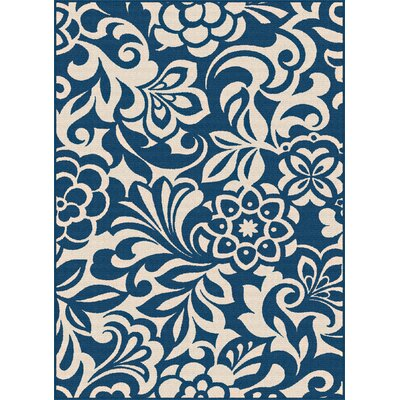 Gorton Navy Indoor/Outdoor Area Rug Rug Size: 53 x 73