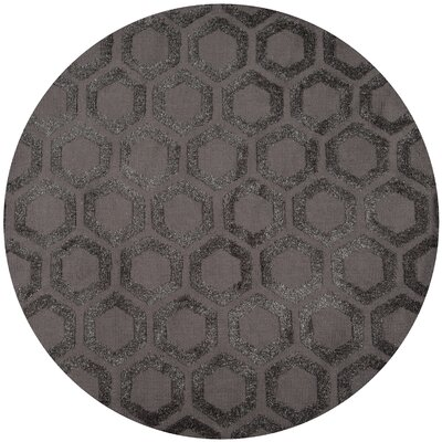 Richie Hand-Tufted�Charcoal Area Rug Rug Size: Round 4 x 4