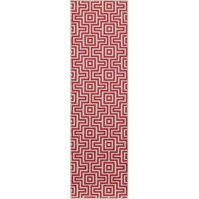 Wexler Hand-Woven Red Indoor/Outdoor Area Rug Rug Size: Runner 2'3