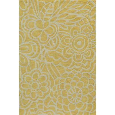 Rhea Hand-Tufted Yellow Area Rug Rug Size: 39 x 59