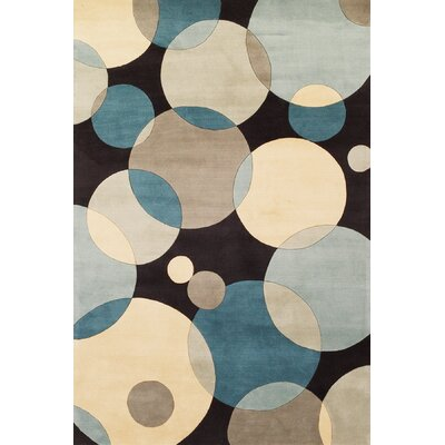 Rita Hand-Tufted Blue/Black/Beige Area Rug Rug Size: Rectangle 76 x 96